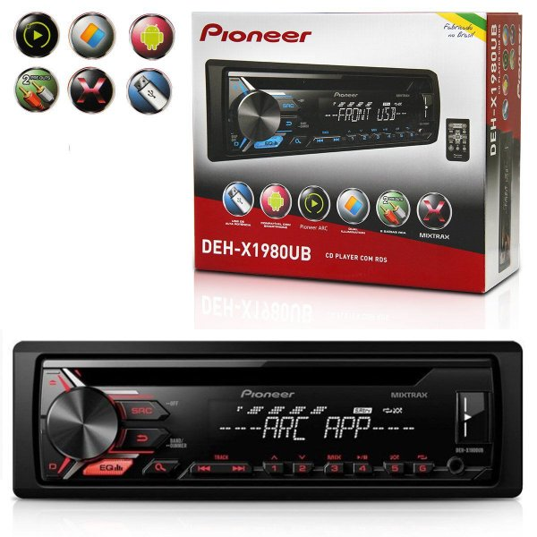 CD Player Pioneer DEH-X1980UB Dual Illumination com USB frontal com ARC e Mixtrax