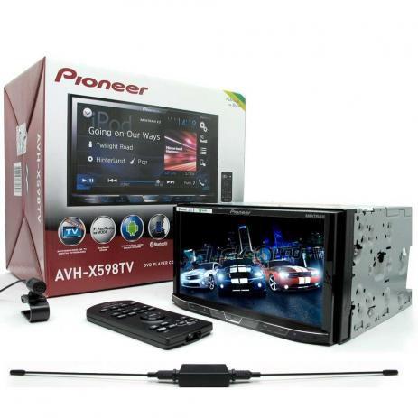 DVD Player Automotivo 2-Din Pioneer AVH-X598TV com Conexão Bluetooth, TV Digital, Entrada USB Rádio FM, Integração com Waze e Spotify