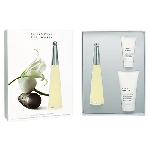 Kit Issey Miyake Leau DIssey Feminino - Perfume EDT 50ml + Body Lotion 75ml + Shower Gel 30ml