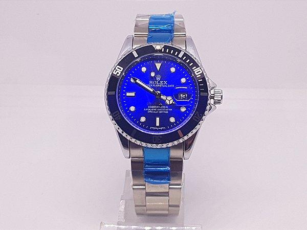 6fe953b33e7 Relógio Rolex Prata Fundo Azul - Vl Click Relogios - Compre Relogios ...