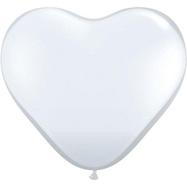 Balão Coração Branco - Decoração Romântica 20 Un