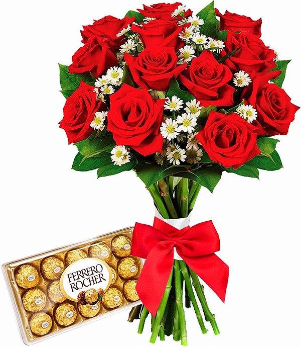 Buquê Rosas Artificiais com Bombom Ferrero Rocher