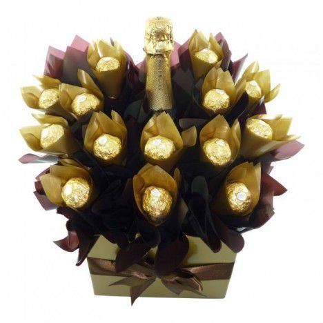 Buquê de Chocolates com Ferrero e Espumante Fino