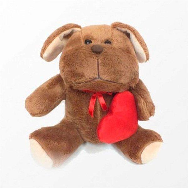 Cachorro com Coração em Pelúcia Macia 20 cm