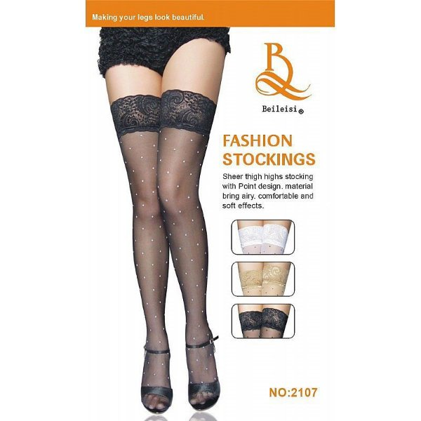 Meia 7/8 com Bolinhas e Renda Fashion Stockings