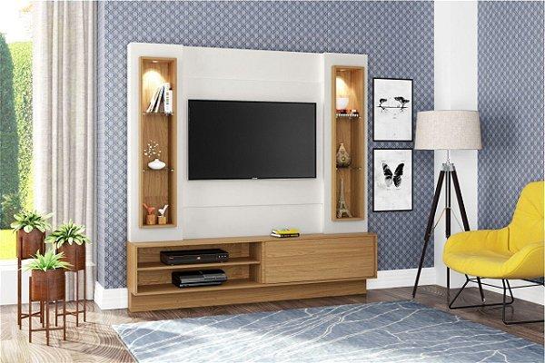 Home Theater para TV até 42 Polegadas 1 Porta LED Branco Off White/Freijó