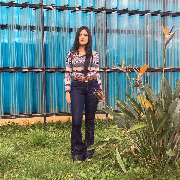 Calça jeans Vuelo com nervura