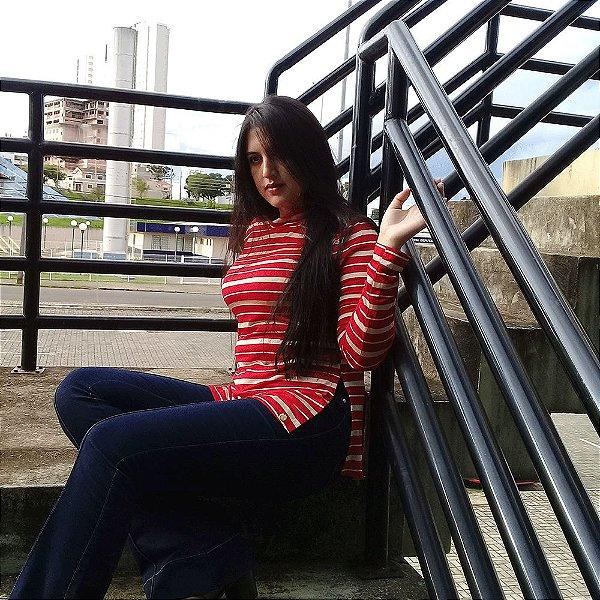 Blusa Gola Alta Viscose -Vermelho