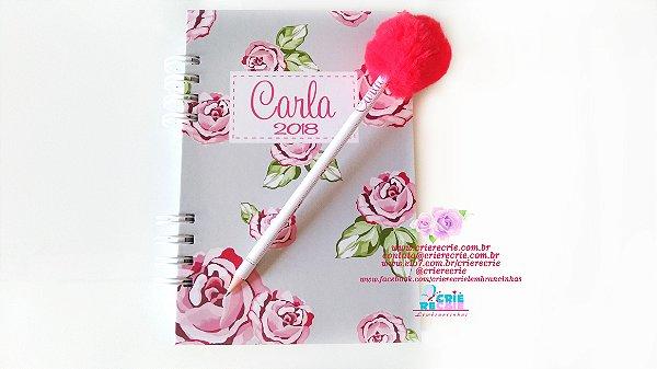 Kit Caderno Simples + Lápis com pompom Personalizados