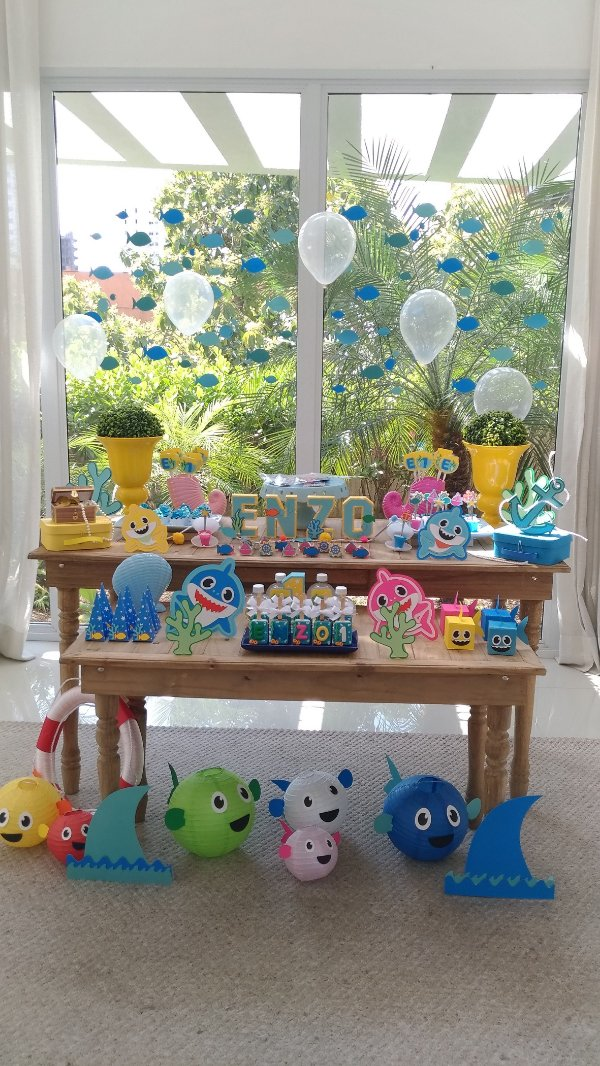 Tema Baby Shark (Fundo do Mar) - Decor Scrap Box G