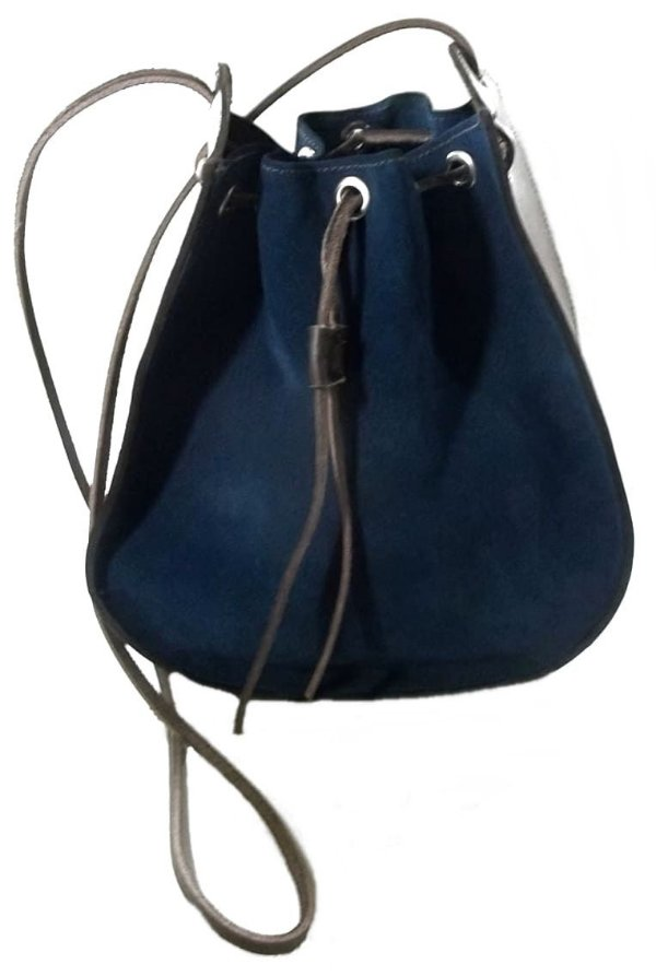 Bolsa Tira Colo Artesanal em Couro Azul