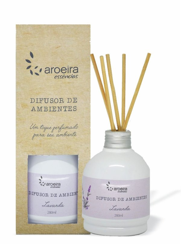 Difusor Perfumado de Ambientes Aroeira Essencias 280ml - Varetas - Lavanda