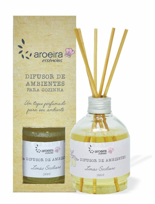 Difusor Perfumado de Ambientes Gourmet Aroeira Essencias 280ml - Varetas - Limão Siciliano