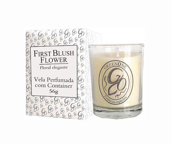 Vela Aromática de Ambientes Greenone 56g Branca c/ copo - First Blush Flower