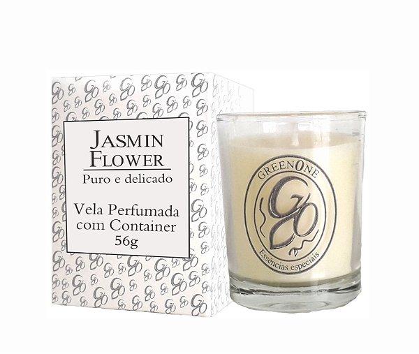 Vela Aromática de Ambientes Greenone 56g Branca c/ copo - Jasmin Flower