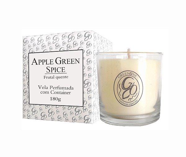 Vela Aromática de Ambientes Greenone 180g Branca c/ copo - Apple Green Spice