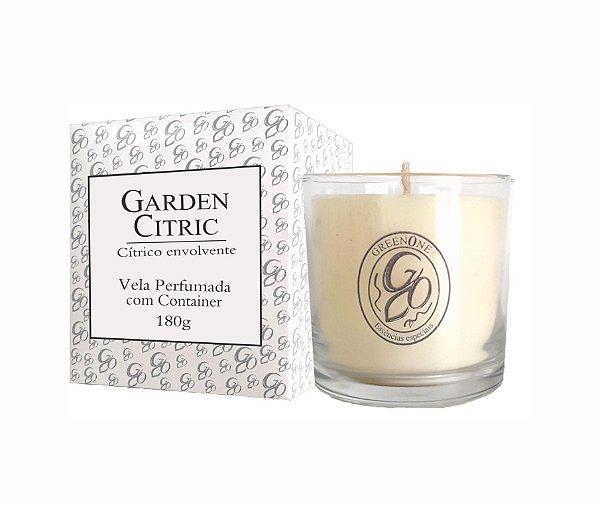 Vela Aromática de Ambientes Greenone 180g Branca c/ copo - Garden Citric