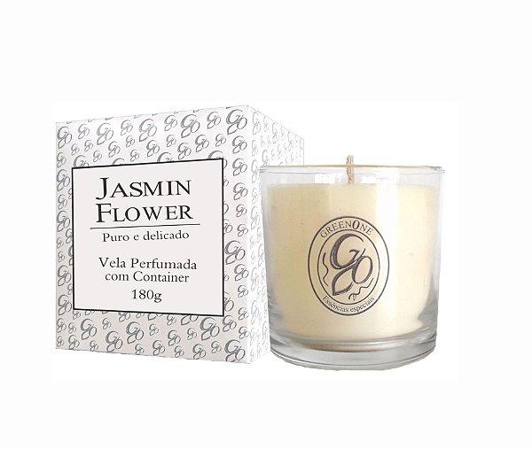 Vela Aromática de Ambientes Greenone 180g Branca c/ copo - Jasmin Flower