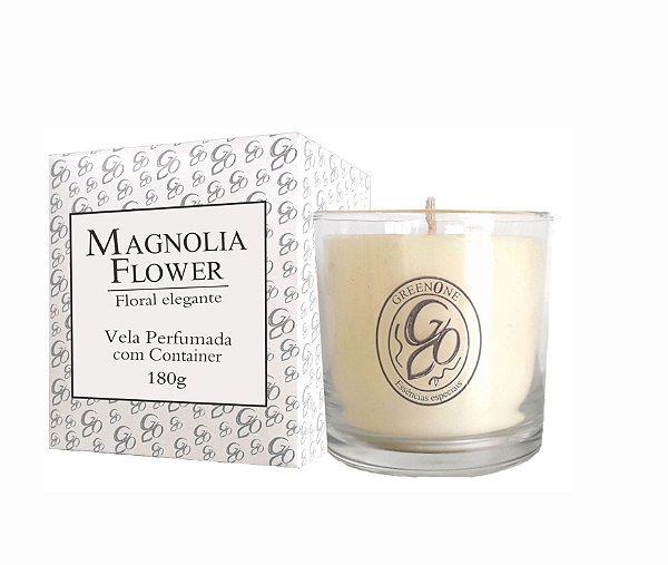 Vela Aromática de Ambientes Greenone 180g Branca c/ copo - Magnolia Flower