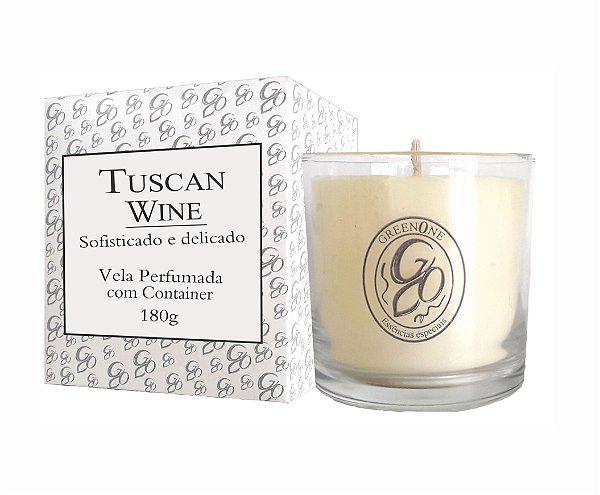 Vela Aromática de Ambientes Greenone 180g Branca c/ copo - Tuscan Wine