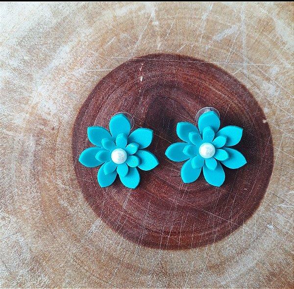 Brinco Flor Azul Grande
