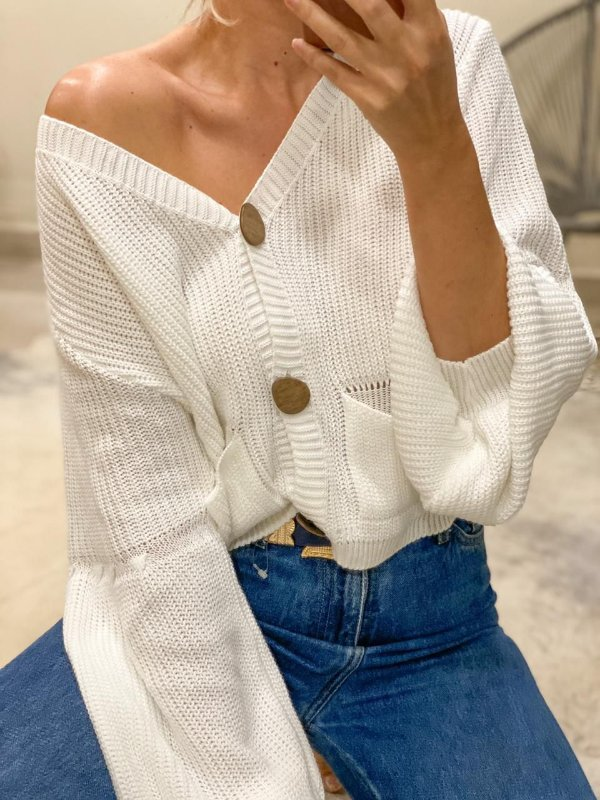 Cropped tricot botoes