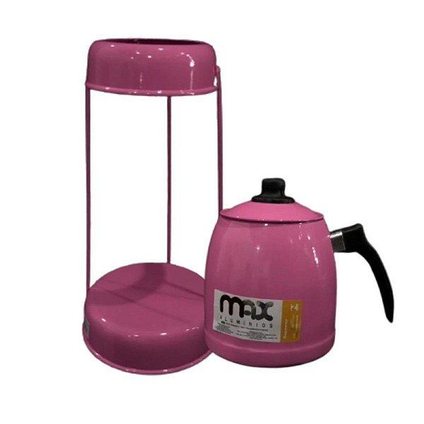 Jogo Suporte De Coador Com Bule Rosa 36 CM Max Alumínio