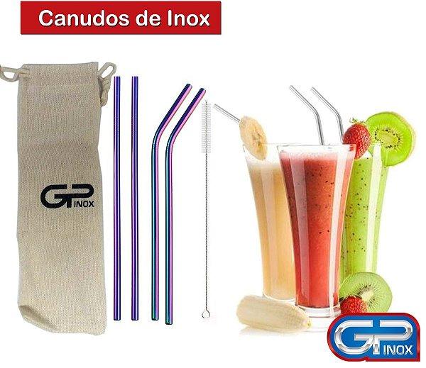 Jogo de Canudos Frutacor em Inox 06 peças Gp Inox