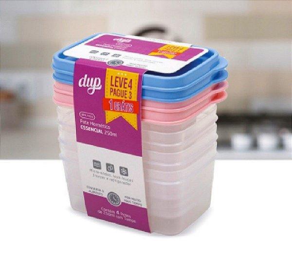 Jogo de Potes Hermético Cores Sortidas 250 ml Essencial Kit leve 4 pague 3 Dup