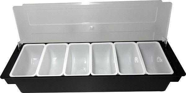 Porta Condimentos 49,5 x 15,5 x 8,7 cm com 6 Divisórias GP INOX