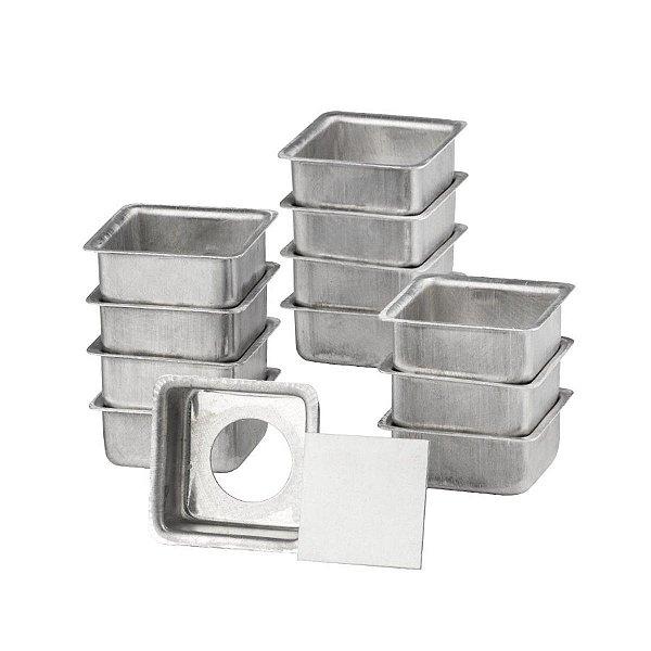 Jogo de Formas para Pão de Mel 3 x 2 cm em Alumínio Quadrada Fundo Falso pacote com 12 Caparroz