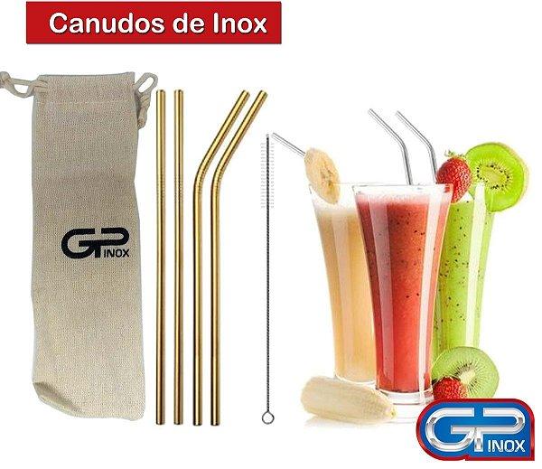 Jogo de Canudos Dourado em Inox 6 peças Gp Inox
