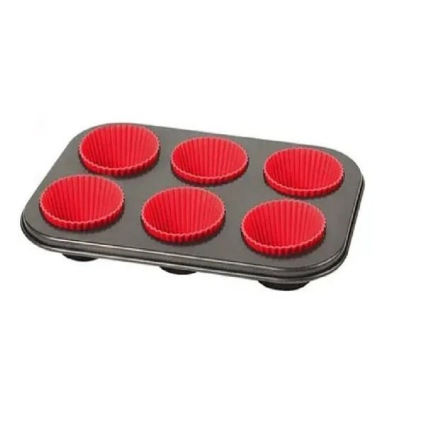 Forma Para Cupcake Com 6 Cavidades com forminhas de silicone EmCasa
