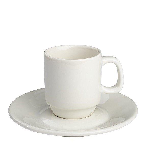 Conjunto Pires + Xicara de café empilhável 80ml Porcelana GP INOX