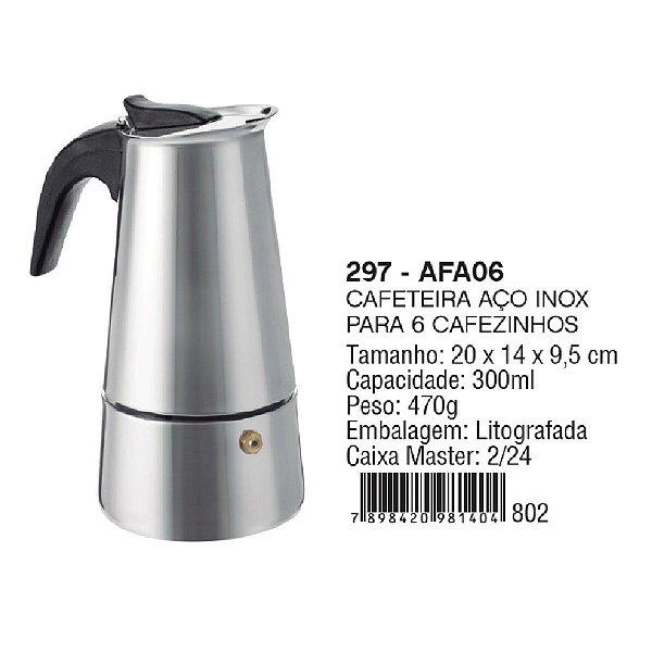 Cafeteira Italiana Inox 6 cafés MIMO