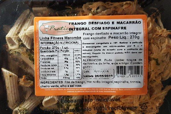 Frango Desfiado e Macarrão Integral com Espinafre 270 gramas