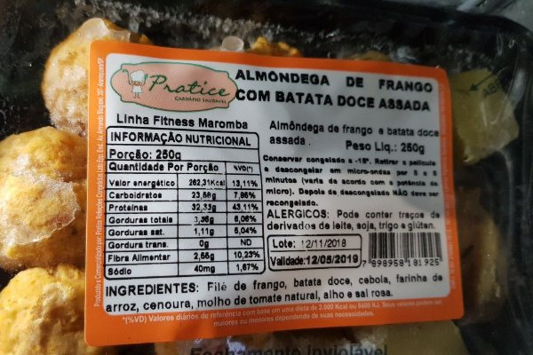 Almôndega de Frango com Batata Doce Assada 250 gramas
