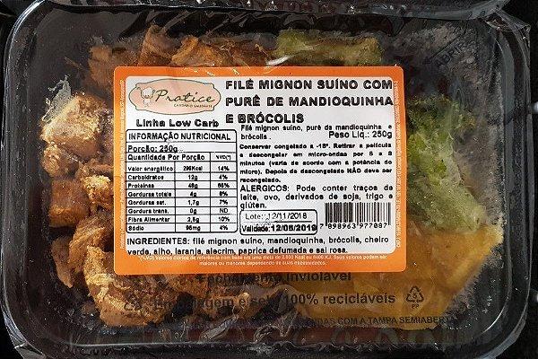 FILÉ MIGNON SUÍNO COM PURÊ DE MANDIOQUINHA E BRÓCOLIS 250 GRAMAS