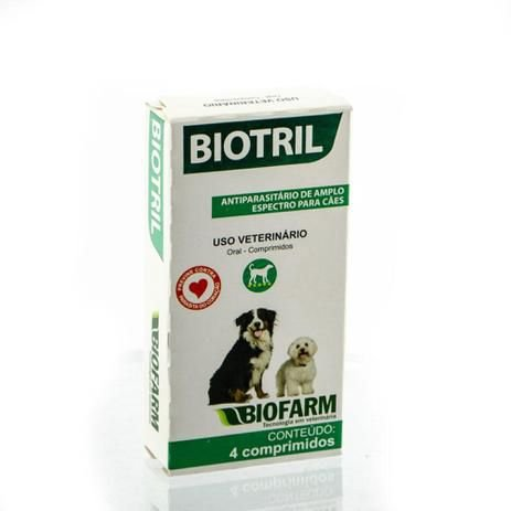 Biotril Antiparasitário Amplo Espectro Cães BioFarm 4 comprimidos