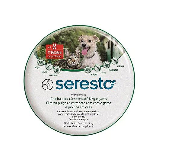 Coleira Antipulgas Serestro Bayer - Cães e Gatos até 8Kg