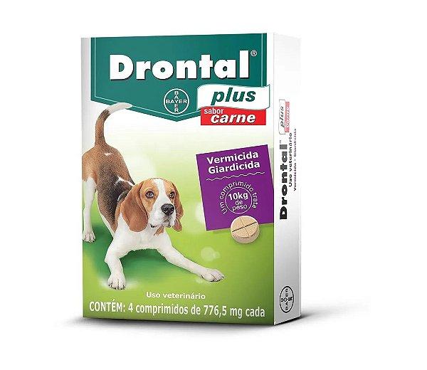 Vermífugo Drontal Plus Sabor Carne - Cães até 10Kg , 4 Comprimidos