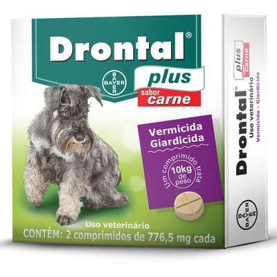 Vermífugo Drontal Plus Sabor Carne - Cães aé 10Kg, 2 Comprimidos