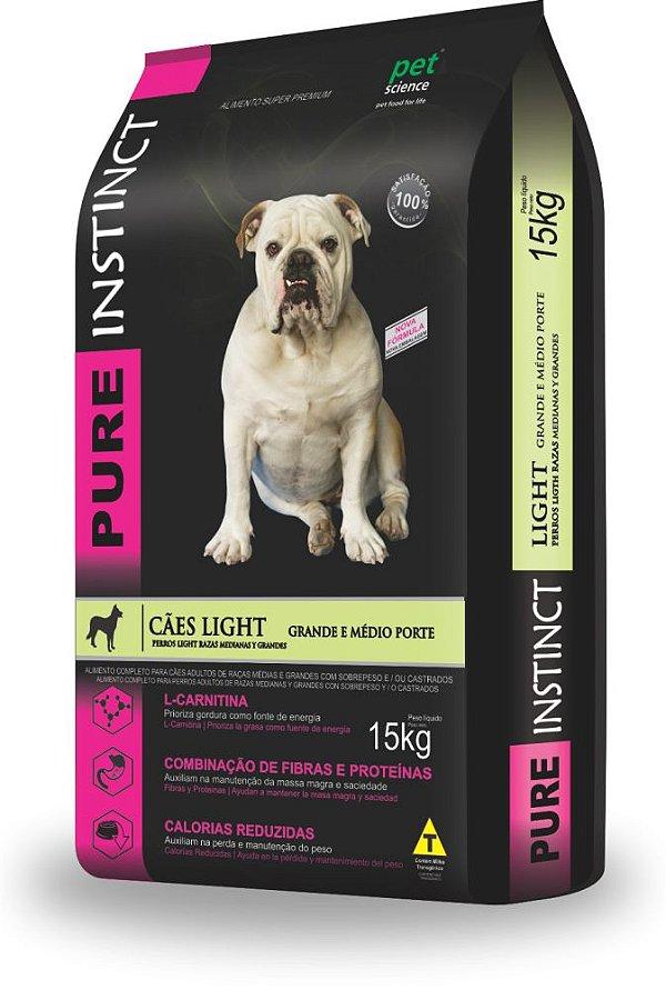 Ração Super Premium Pure Instinct Light Adulto Médio e Grande 15kg