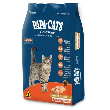 Ração Papa Cats Gourmet Gatos Castrados Frango e Arroz