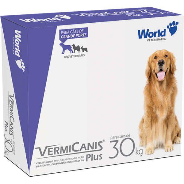 Vermífugo World Veterinária VermiCanis Plus Cartela Com 2 Comprimidos Cães de 30 Kg