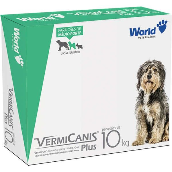 Vermífugo World Veterinária VermiCanis Plus Cães de 10 Kg Cartela Com 2 Comprimidos