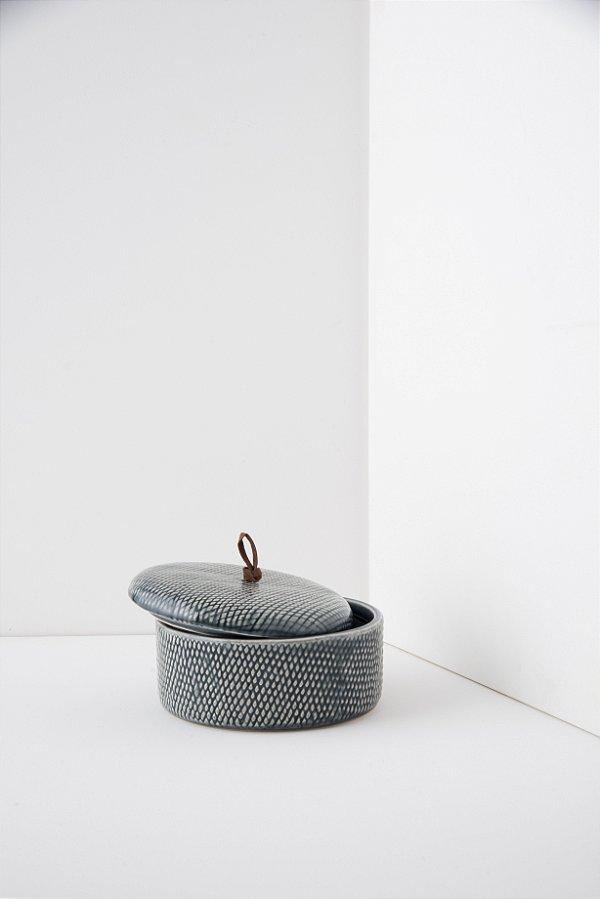 pote de cerâmica indigo blue G