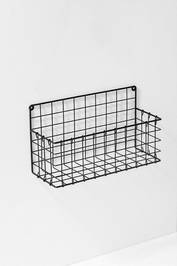 cesta suspensa em metal preta