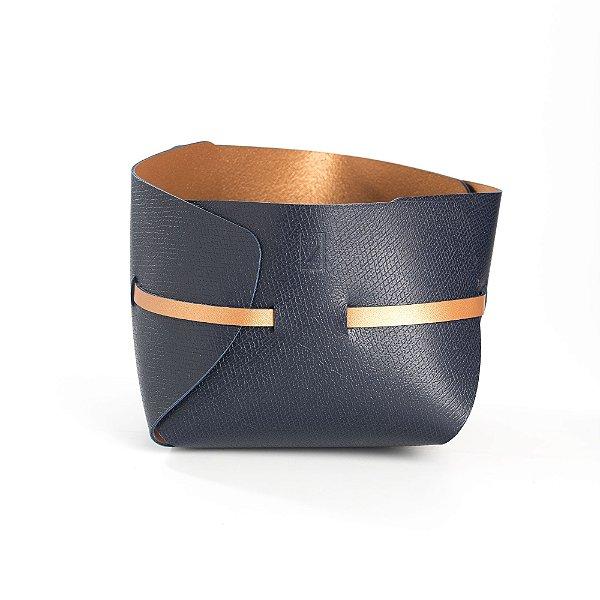 Cachepot Cinta | Azul Marinho e Bronze