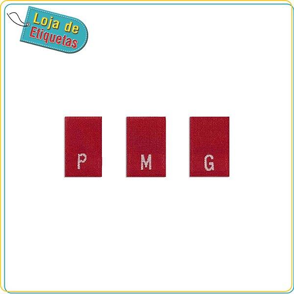 Etiqueta Bordada de Manequim c/ Fundo Vermelho (Pronta Entrega - 100 unidades)